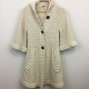 Free People Cotton Linen Knit Hoodie Cardigan - S